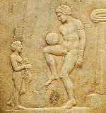 picture of football on ancient greek vase
